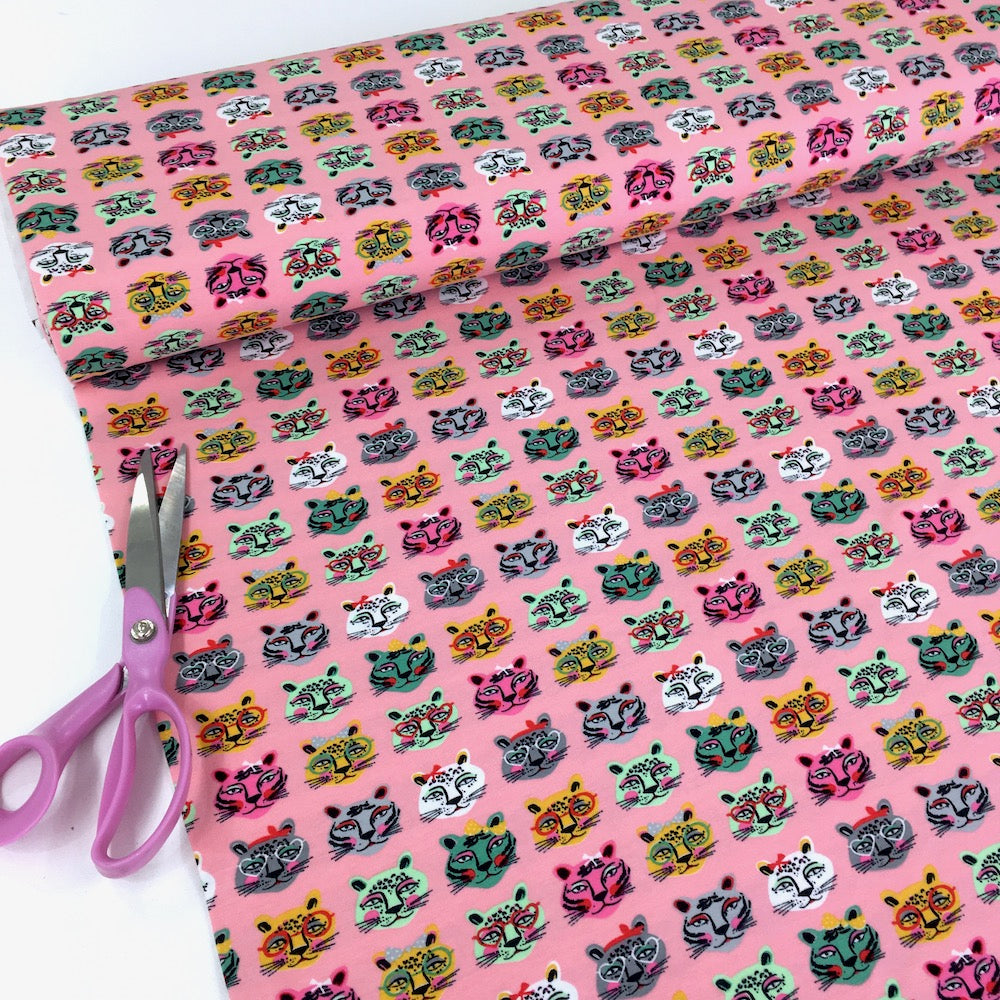 Colourful Cats - Cotton Jersey - Pink