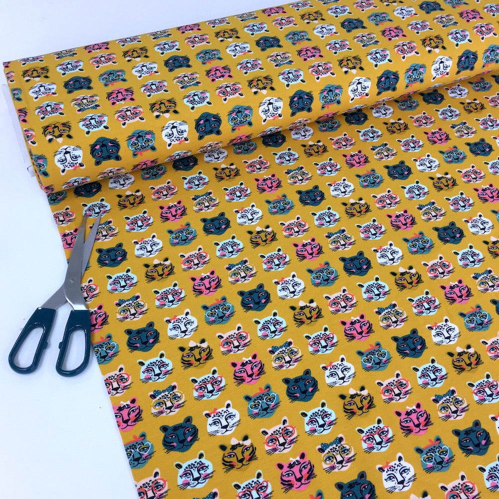 Colourful Cats - Cotton Jersey - Yellow