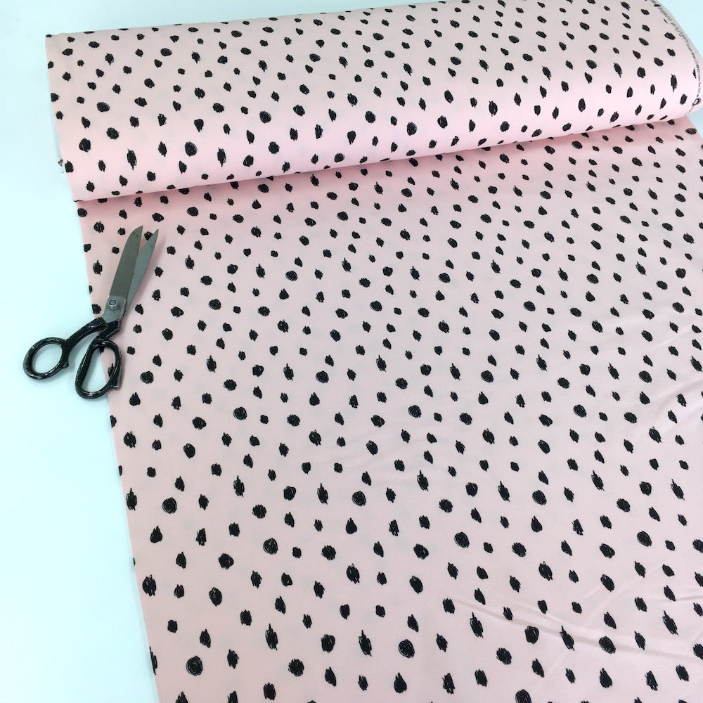 Scribble Dots - GOTS Organic Soft Sweat - Baby Pink