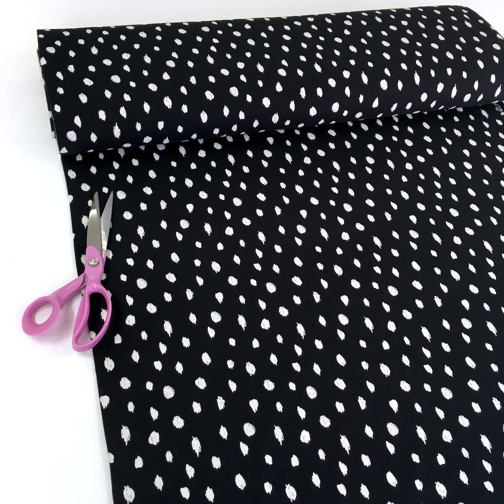 Scribble Dots - GOTS Organic Soft Sweat - Black