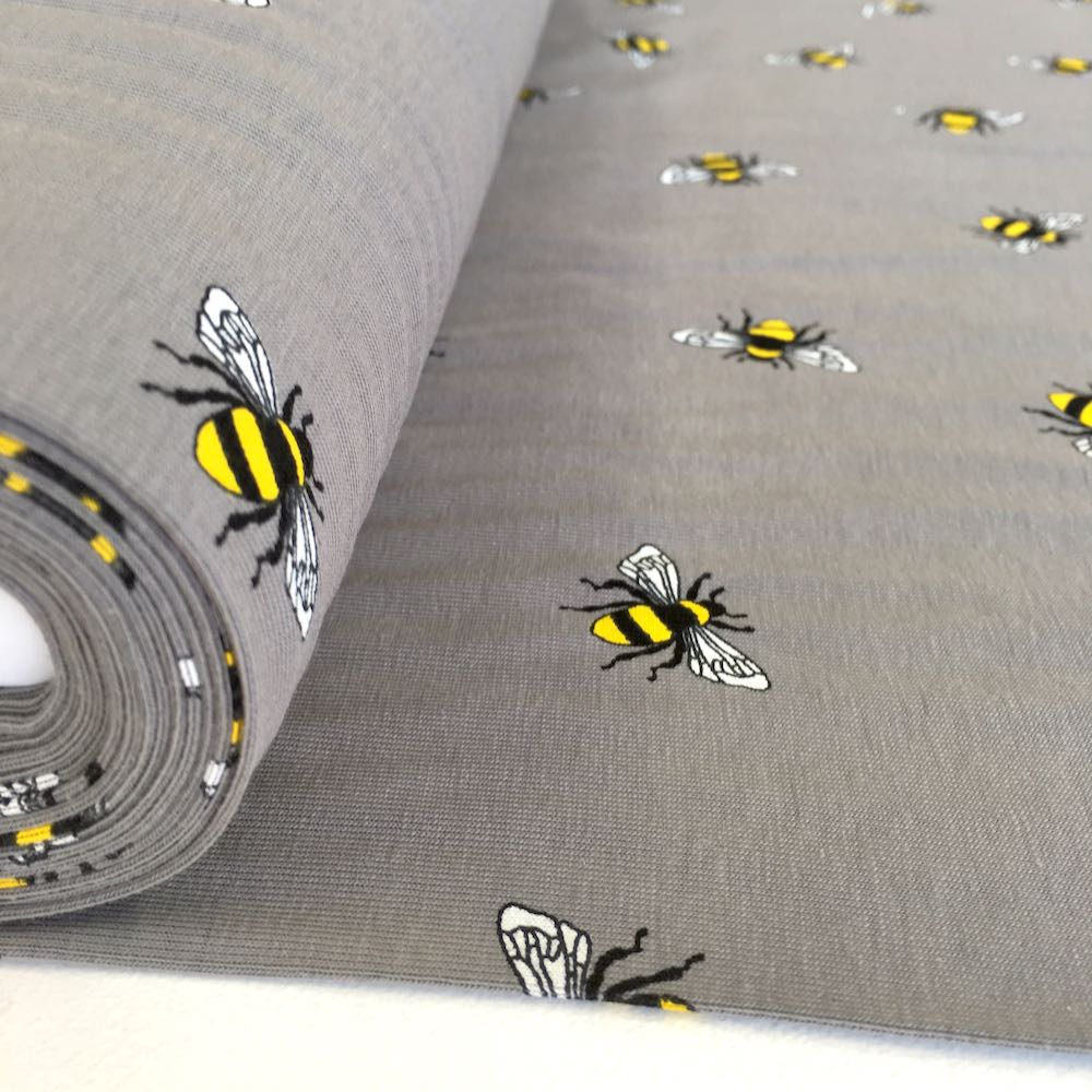 Scattered Bumble Bees Grey Jersey Print Fabric Knit