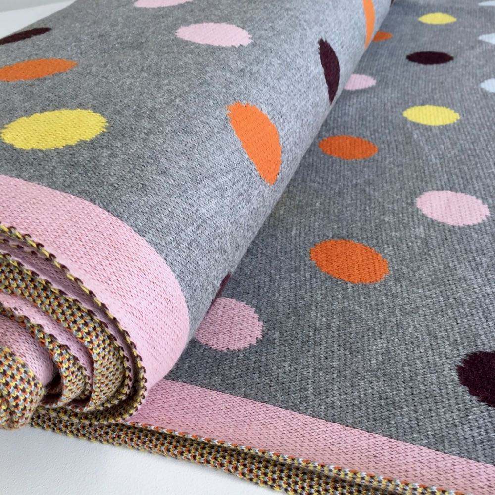 Wooly Cotton Cosy Knitted Dots Grey Multi