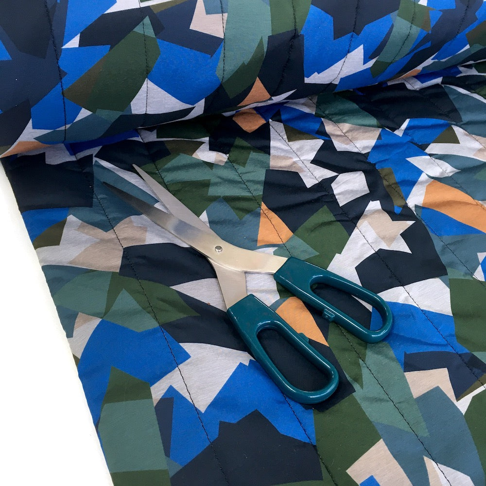 Geo Camouflage - Waterproof Puffer Fabric - Blue
