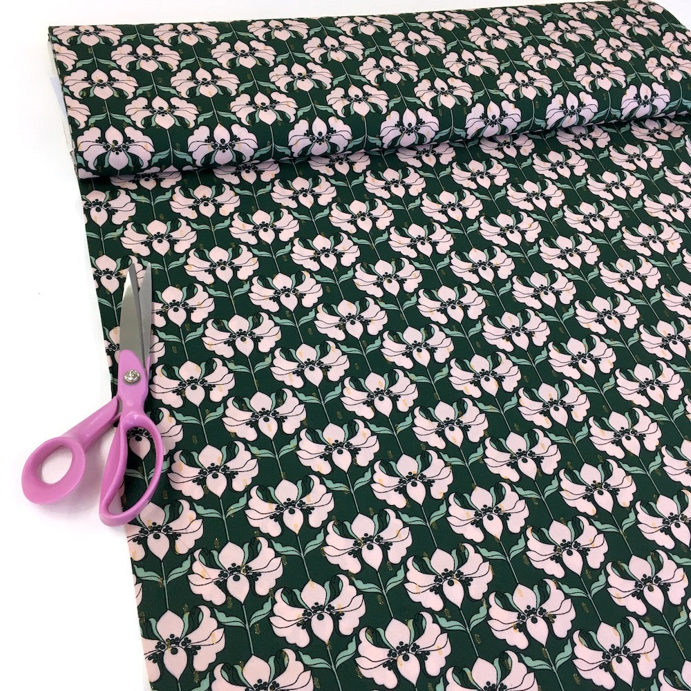 Golden Dash Flowers Viscose Lurex - Green