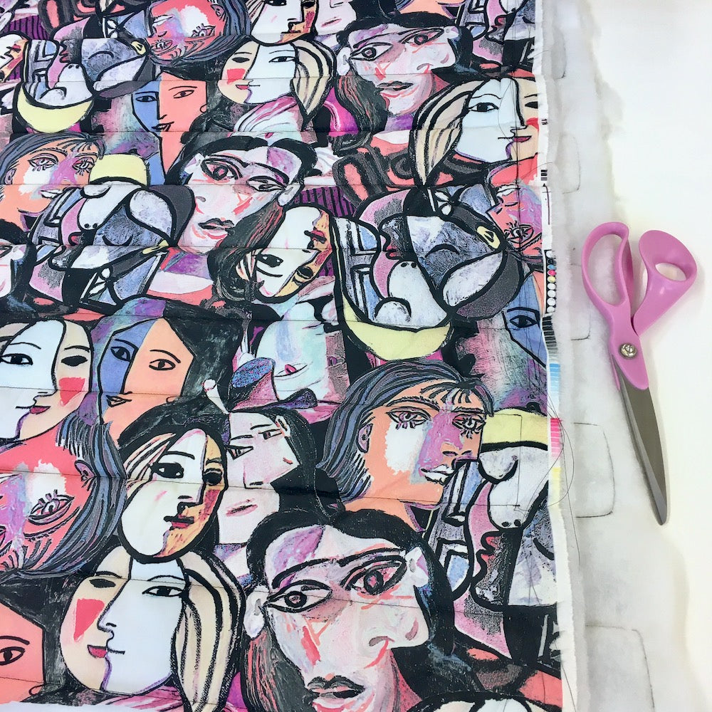Cubist Faces Waterproof Puffer Fabric - Frumble Fabrics
