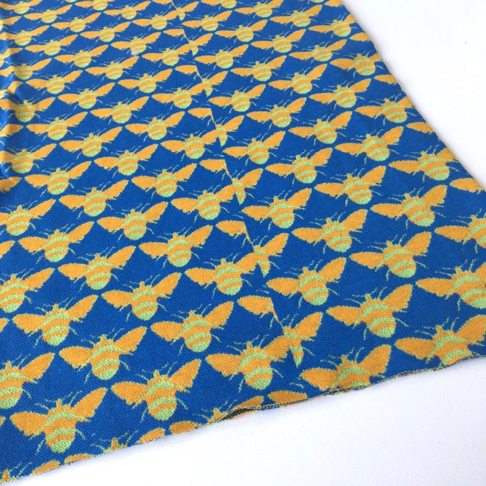 Blue Jacquard Bees Cotton Ribbing Tube - Frumble Fabrics