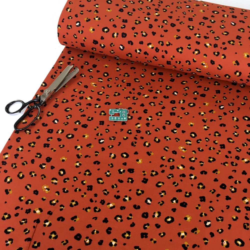 Leopard Dots - GOTS Organic Soft Sweat - Terracotta