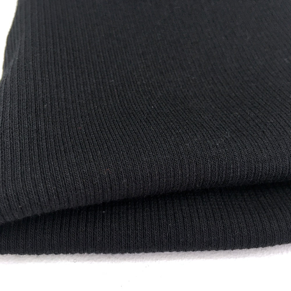 2x2 Medium Organic Ribbing - Plain GOTS Cotton Tube - Black