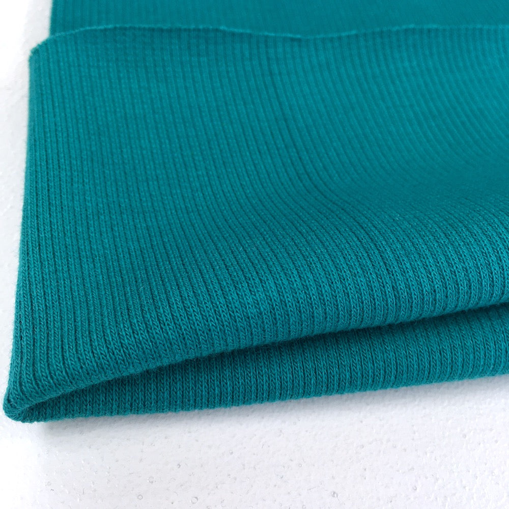 2x2 Medium Organic Ribbing - Plain GOTS Tube - Petrol Teal