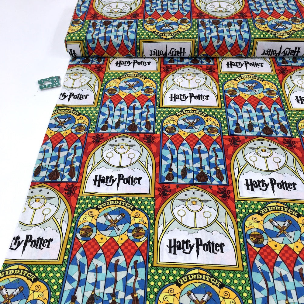 Camelot Fabrics - Harry Potter Stained Glass Broomsticks - Multi