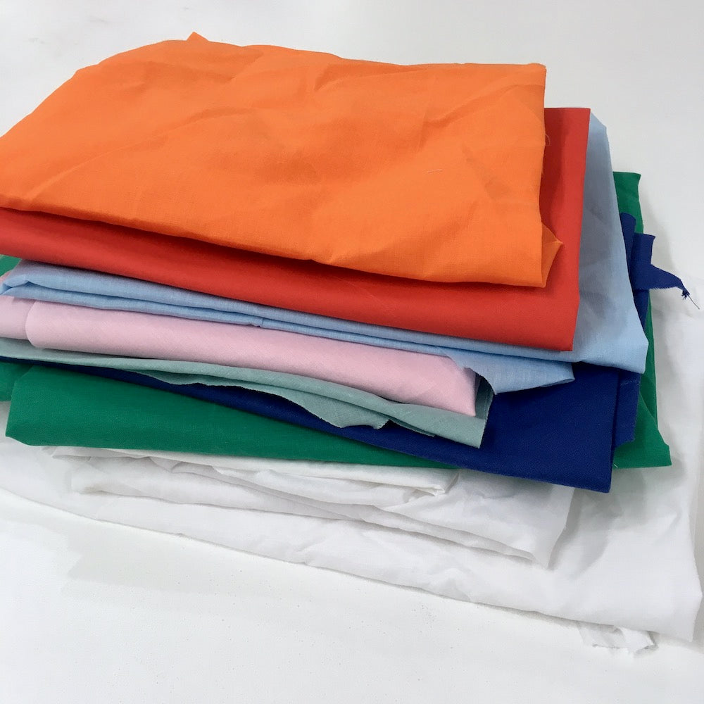 1Kg Woven Cotton Polycotton Fabric Bundle Dead Stock Pack - Big Pieces - Clearance