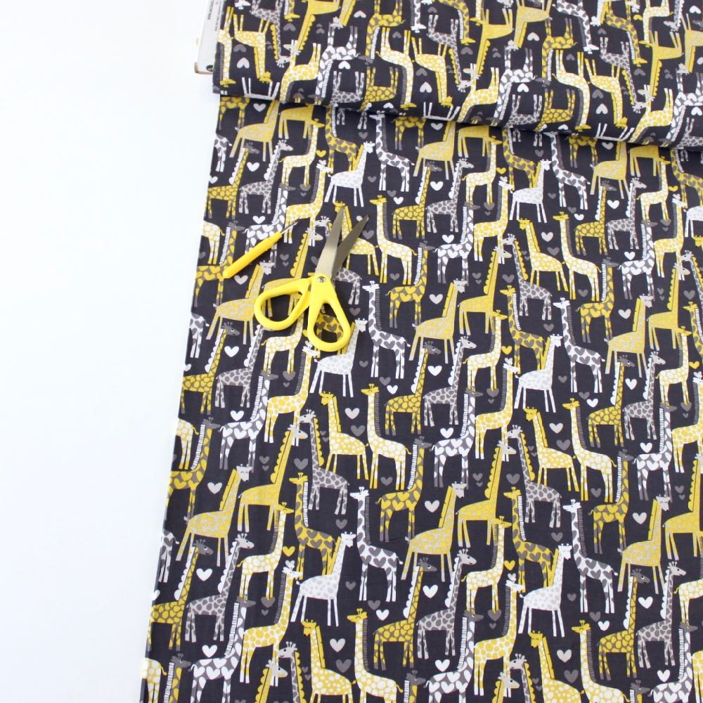 Giraffe Love Grey - Frumble Fabrics