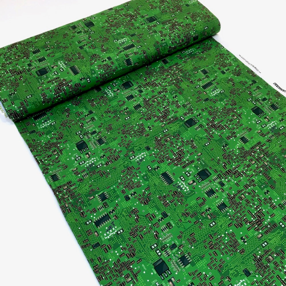 Science Fair 3 Circuit Boards Green Cotton Fabric by Robert Kaufman