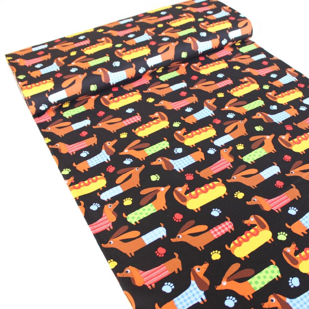 Hot Dogs Black Fabric by Timeless Treasures