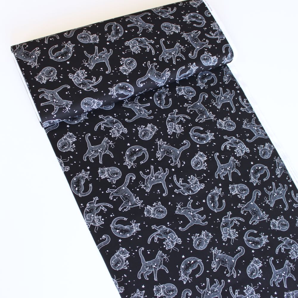 Cats In Space Black Fabric by Timeless Treasures