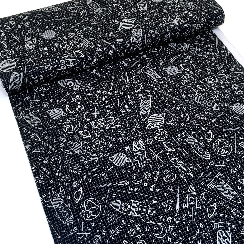 Glow In The Dark Moons and Stars Black Cotton Fabric by Timeless Treasures