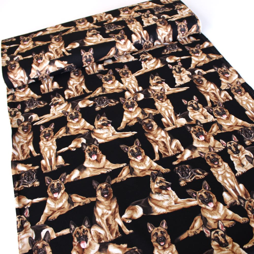 German Shepherds Black Fabric by Timeless Treasures