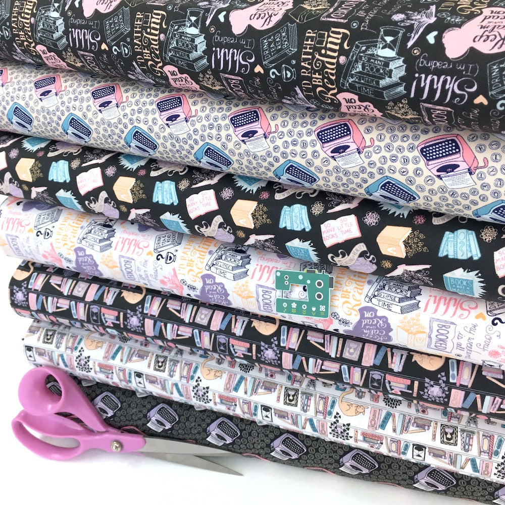 Camelot Fabric - Literary - Rather Be Reading Charcoal