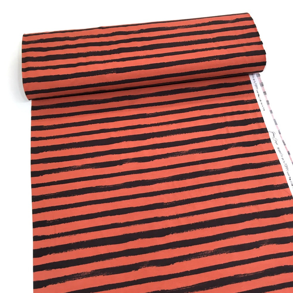Groovy Stripes Loop Back Terry Terracotta - Frumble Fabrics