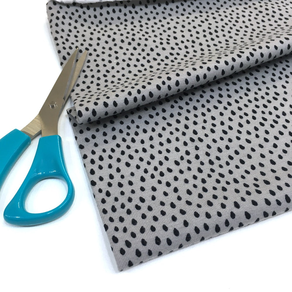Mini Raindrops Printed Jersey Dots Grey - Frumble Fabrics