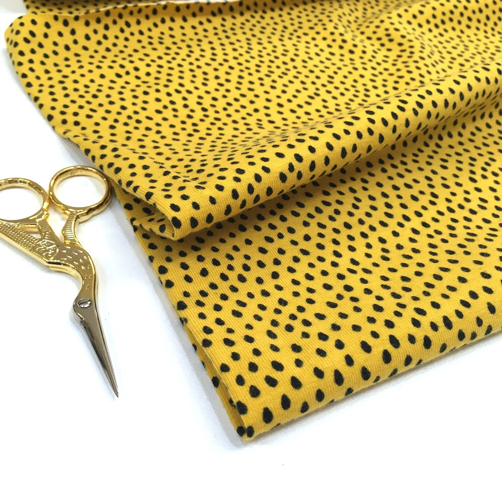 Mini Raindrops Printed Jersey Dots Sunny Yellow