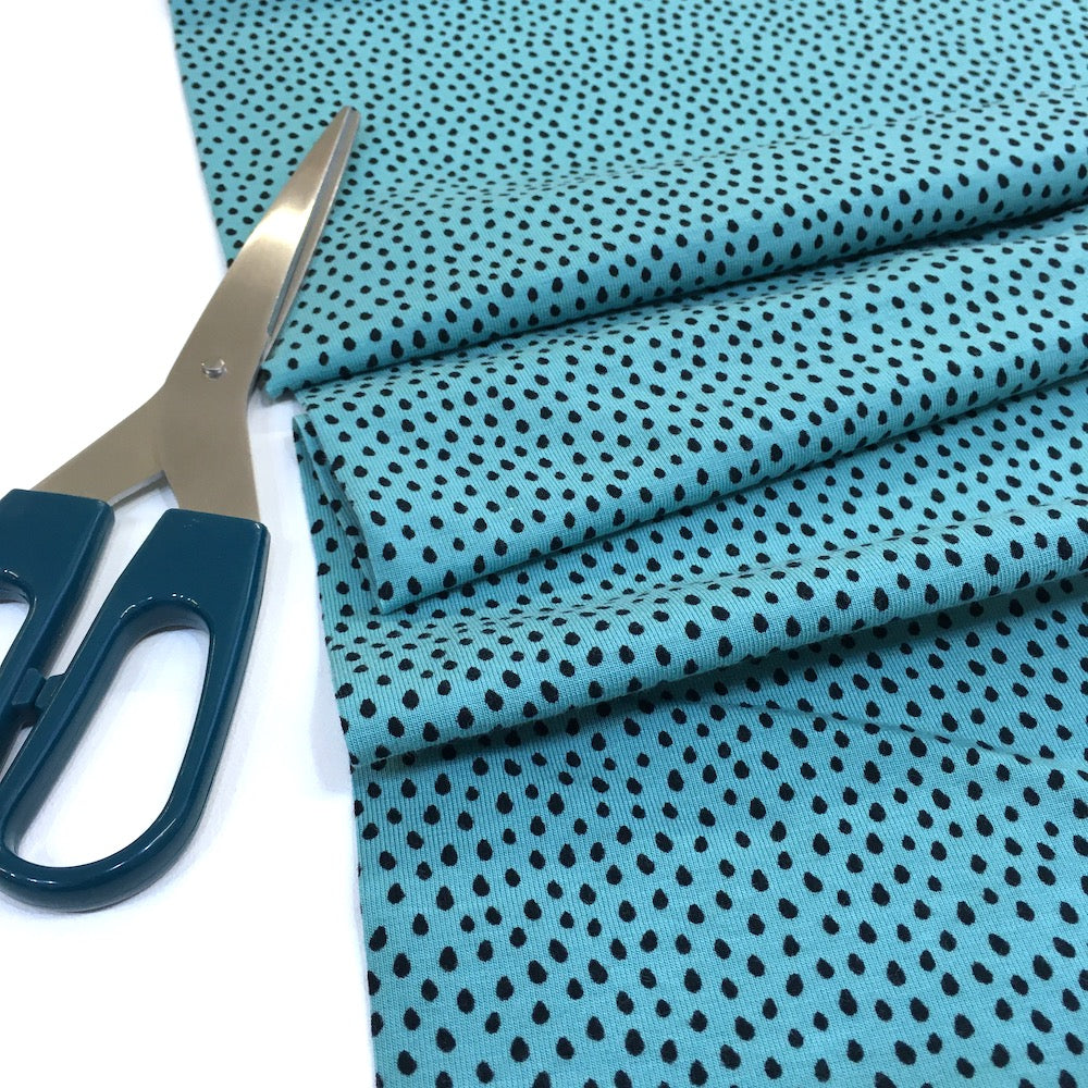 Dotty Raindrops Printed Jersey Teal