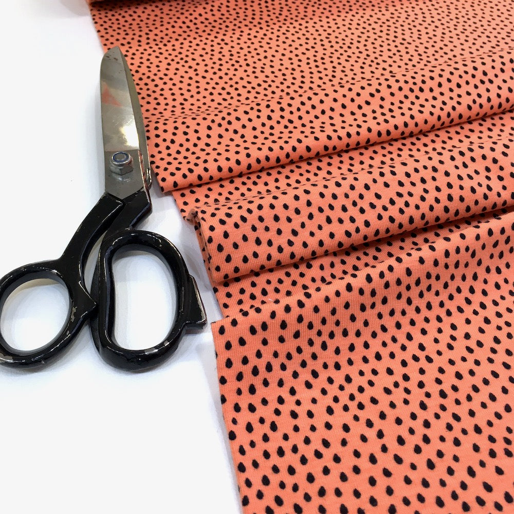 Mini Raindrops Printed Jersey Dots Salmon Coral