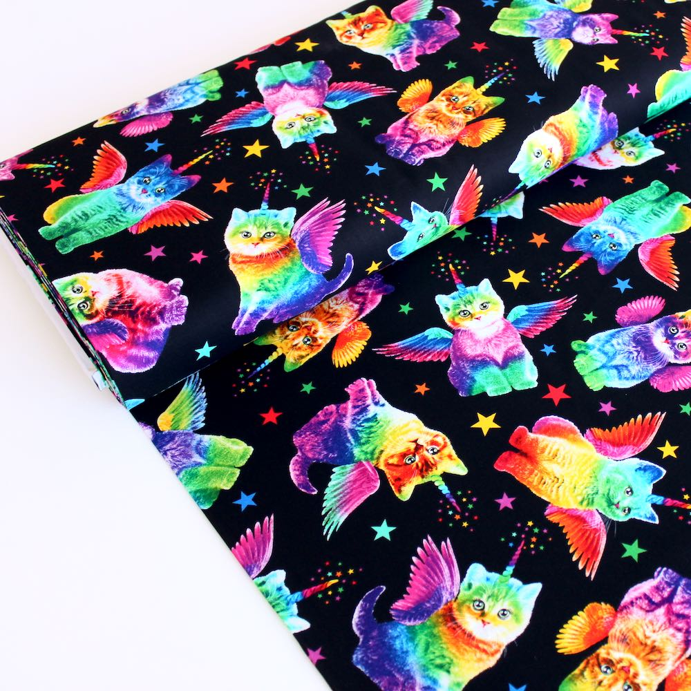 Rainbow Unicorn Cats Black - Frumble Fabrics
