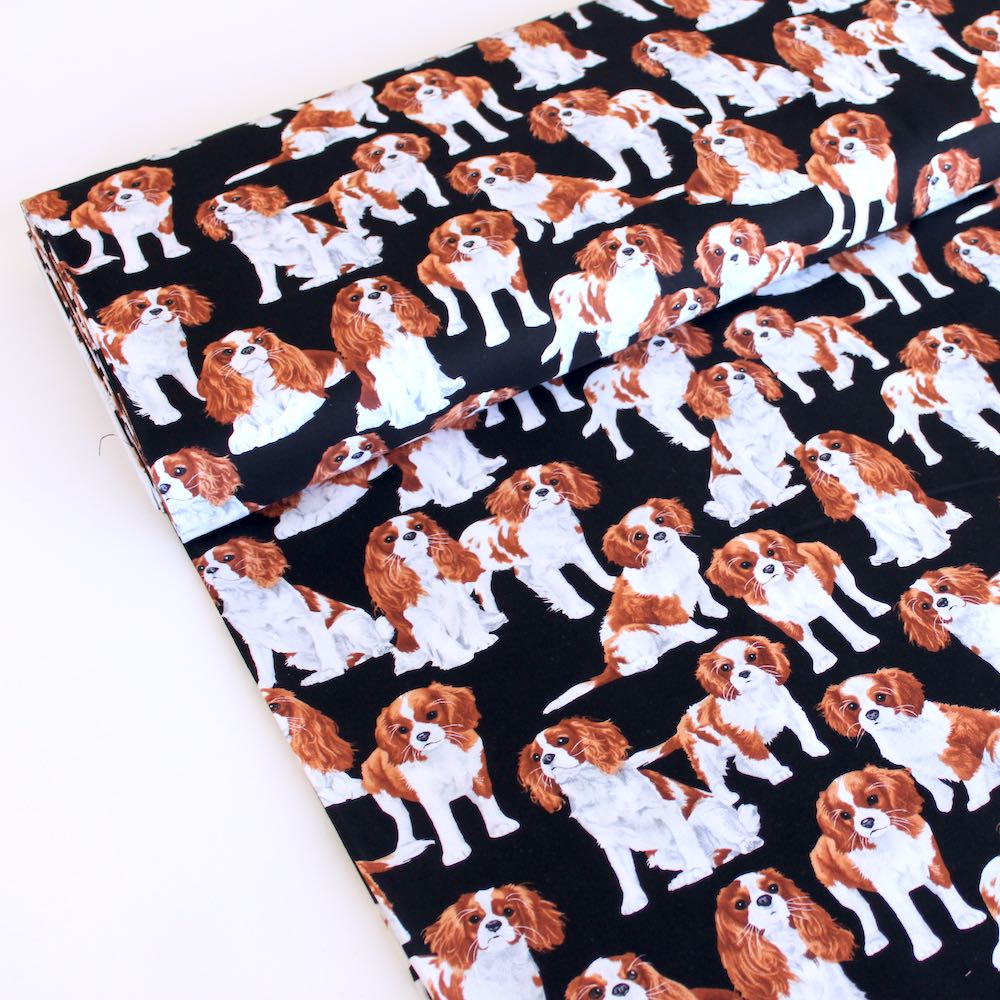 Cavalier King Charles Spaniels Dog Black - Frumble Fabrics