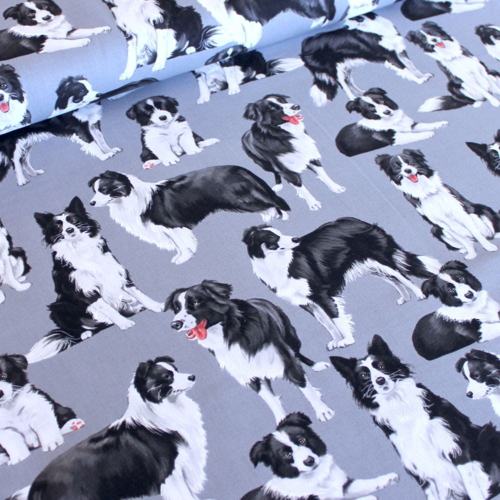 Border Collies Dog Grey - Frumble Fabrics