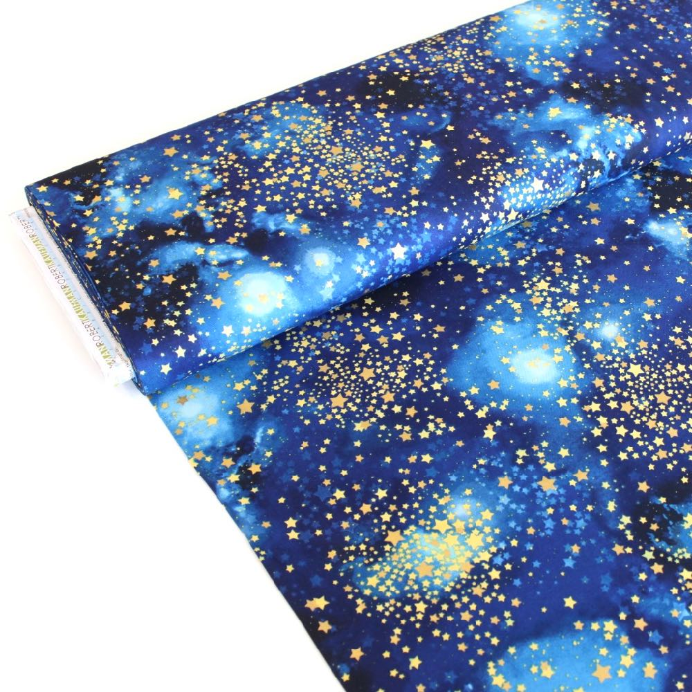 Stargazers Metallic Stars Stratosphere Fabric by Robert Kaufman