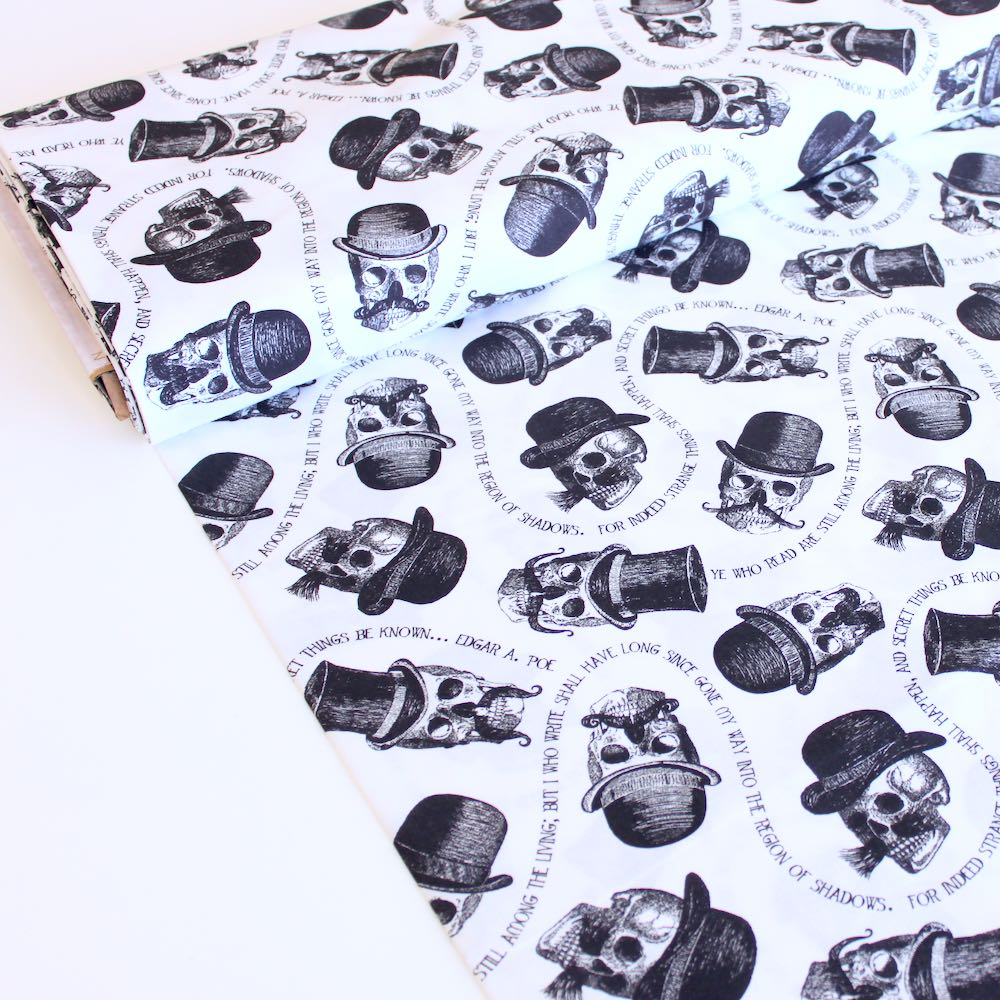 Skullz N Staches White - Frumble Fabrics