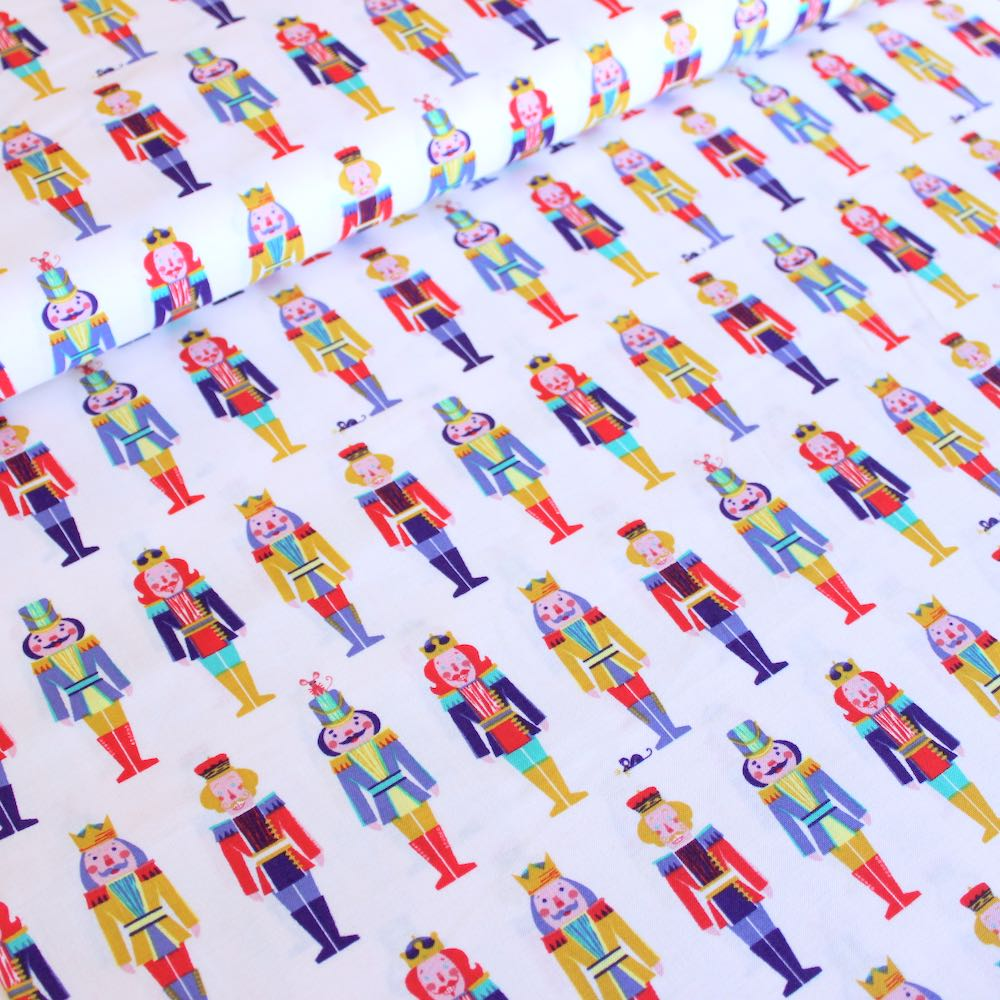 Night Of The Nutcracker In A Row Ecru Fabric by Paintbrush Studio