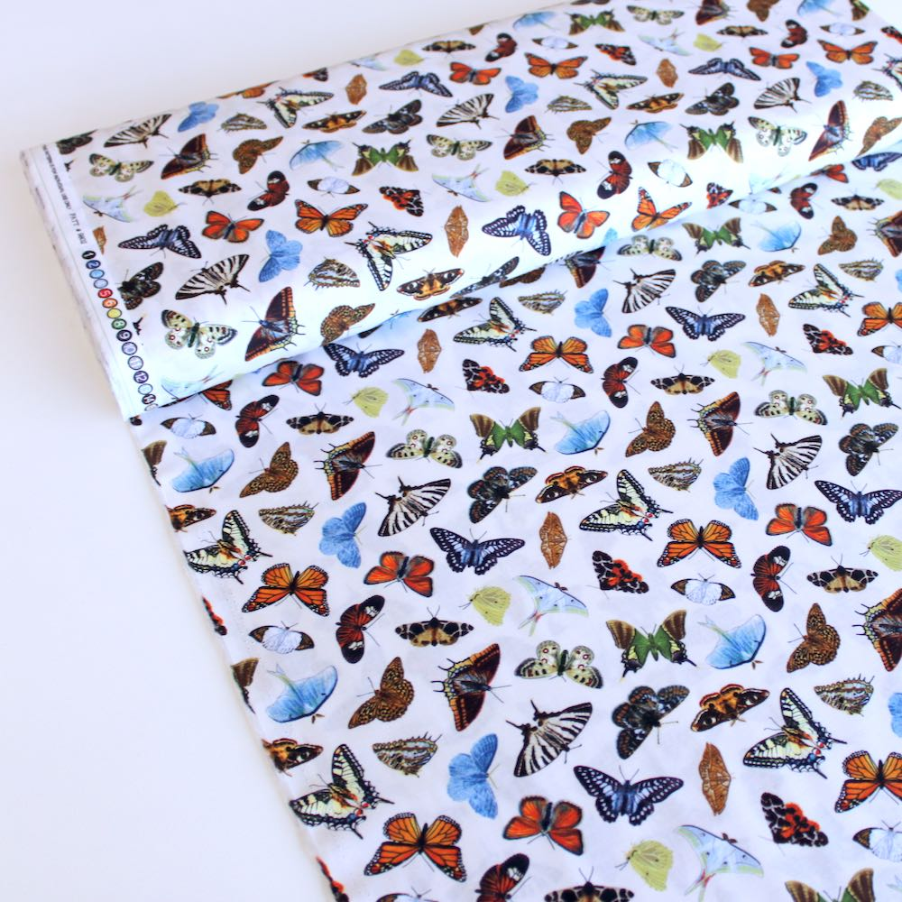 Butterflies and Moths Cream Fabric by Elizabeth Studio