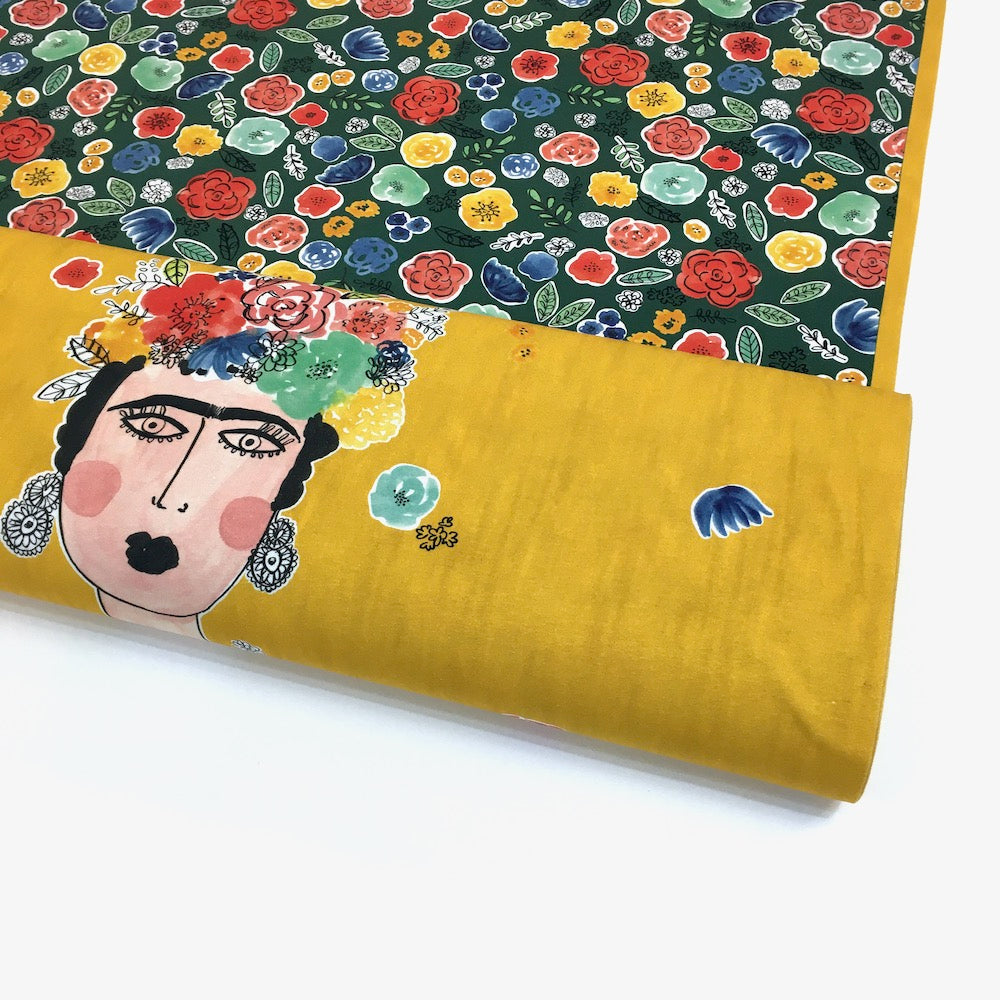 Frida's Portrait Panel Printed Jersey Ochre - Frumble Fabrics