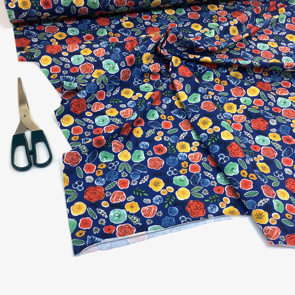 Frida's Flowers Printed Jersey Blue - Frumble Fabrics
