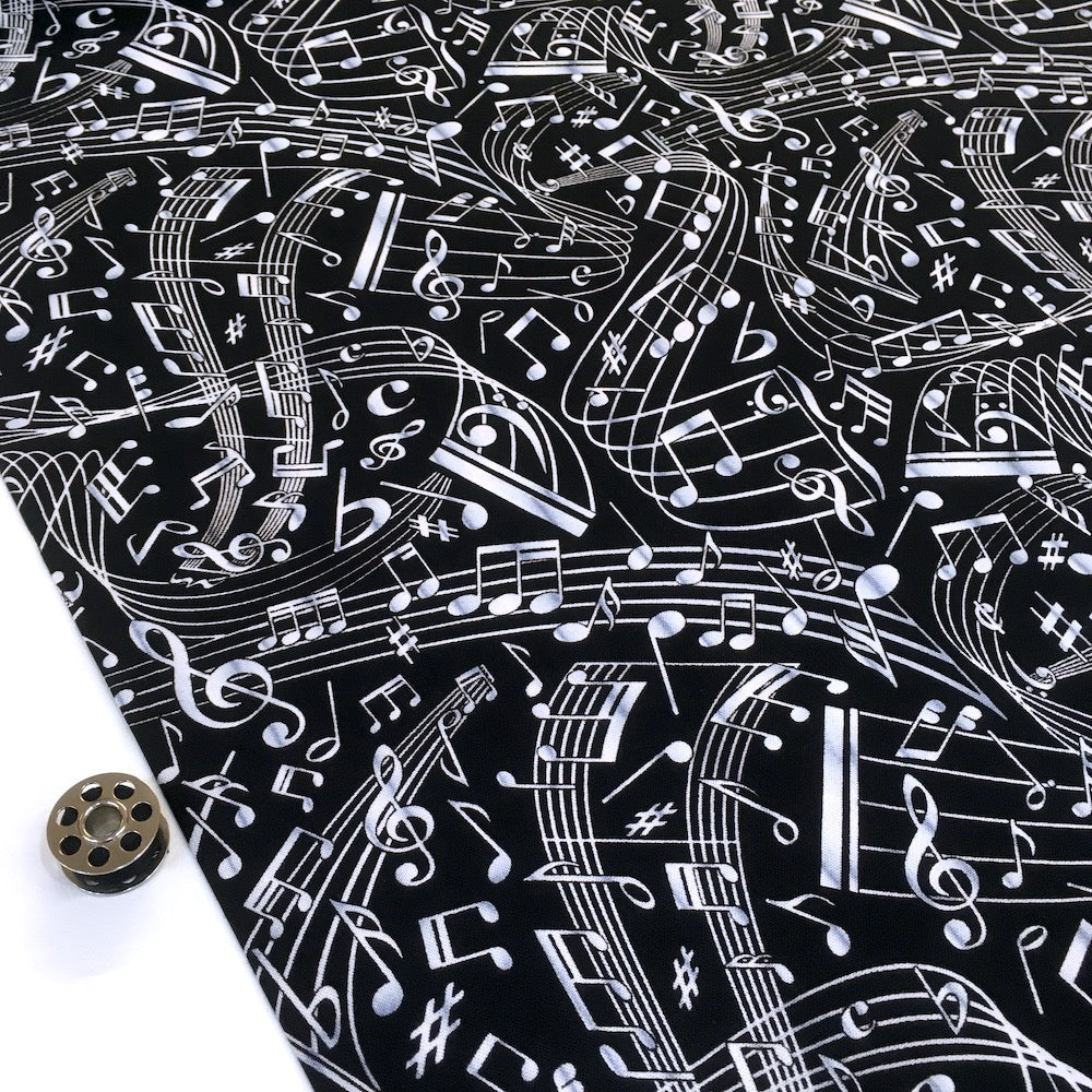 Swirling Music Notes Black - Frumble Fabrics