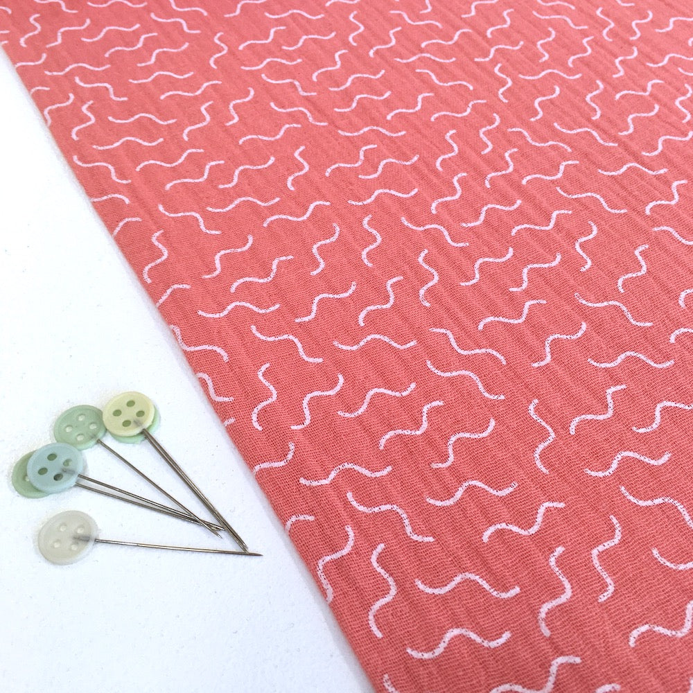Squiggle Wiggles Double Gauze Fabric perfect for dressmaking and baby clothes