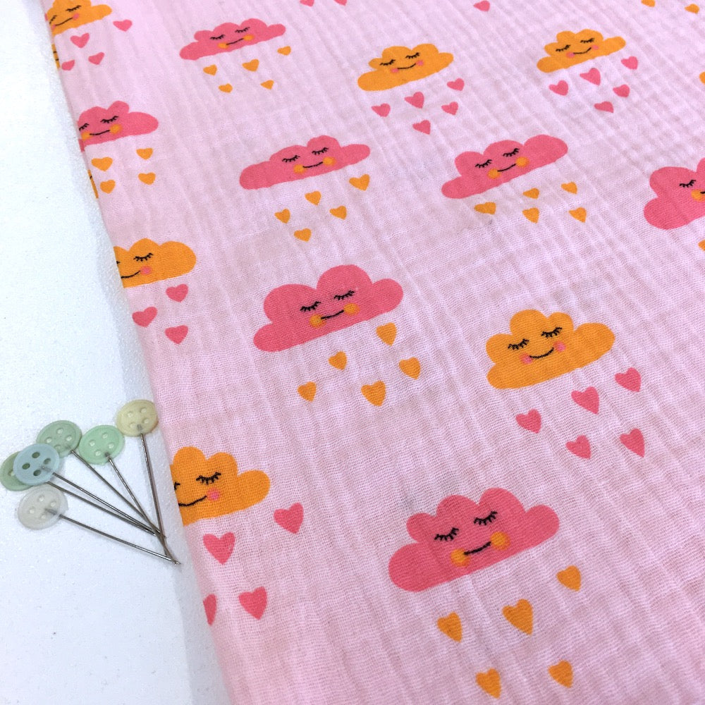 Sleepy Love Clouds Double Gauze Rose Fabric perfect for dressmaking or baby clothes