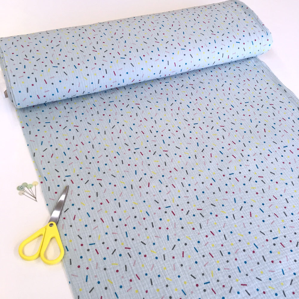 Rainbow Confetti Double Gauze light blue Fabric perfect for dressmaking and baby clothes