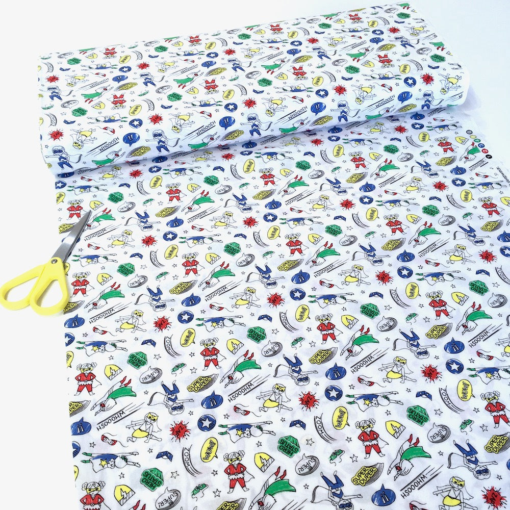 Half-Pint Heroes Hero Girl White - Frumble Fabrics