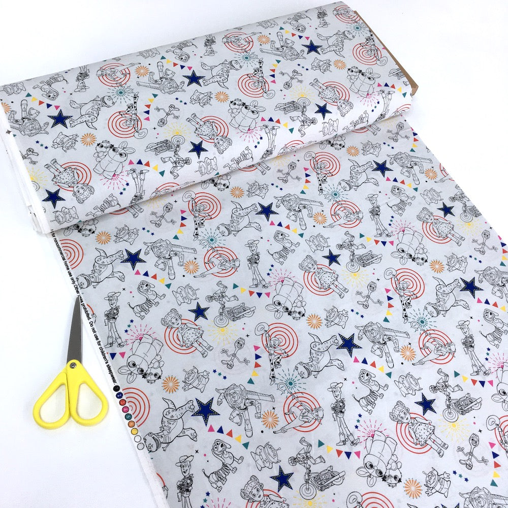 Toy Story 4 Character Toss Cream - Frumble Fabrics