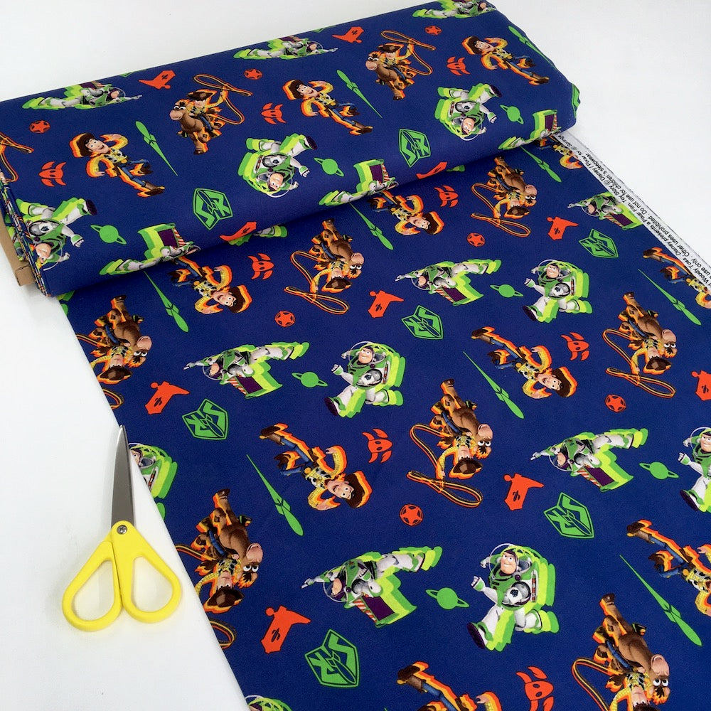 Toy Story 4 Buzz and Woody Toss Navy - Frumble Fabrics
