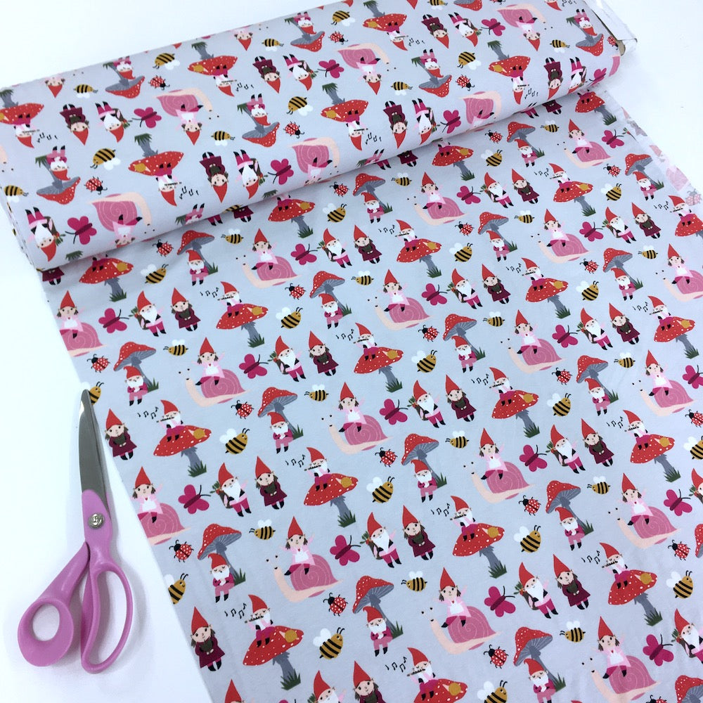 Garden Gnoming Around Pink Light Grey Jersey Print - Frumble Fabrics
