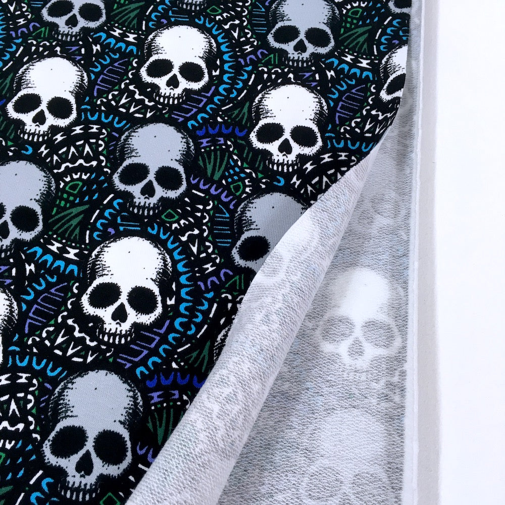 Scary Skull Blue Printed French Terry