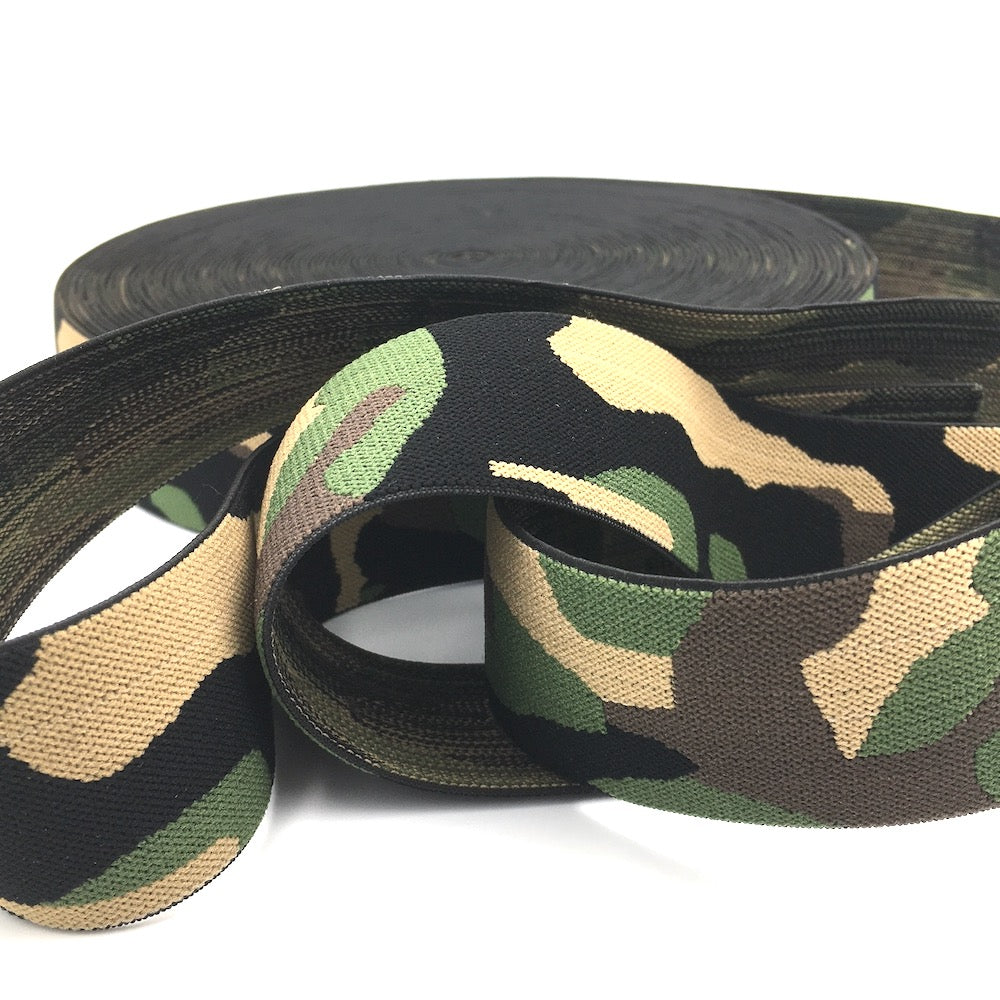 40mm Wide Waistband Elastic Camo Green - Frumble Fabrics
