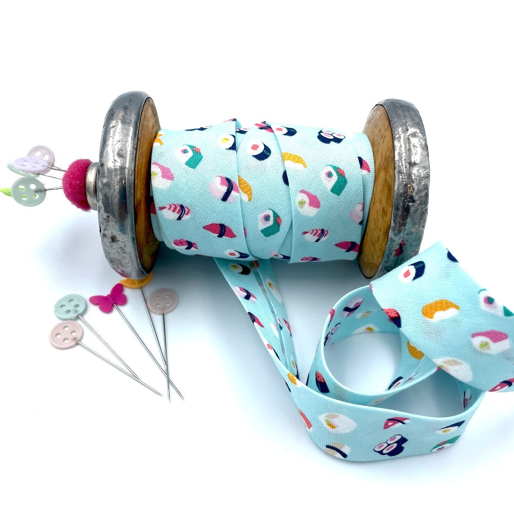 25mm Handmade Bias Binding -Limited Edition - Cute Sushi Aqua
