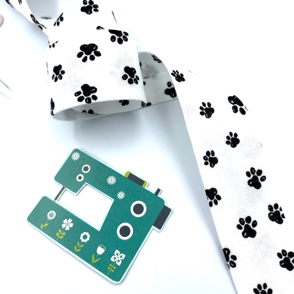 25mm Handmade Bias Binding -Limited Edition - Dog Cat Paws