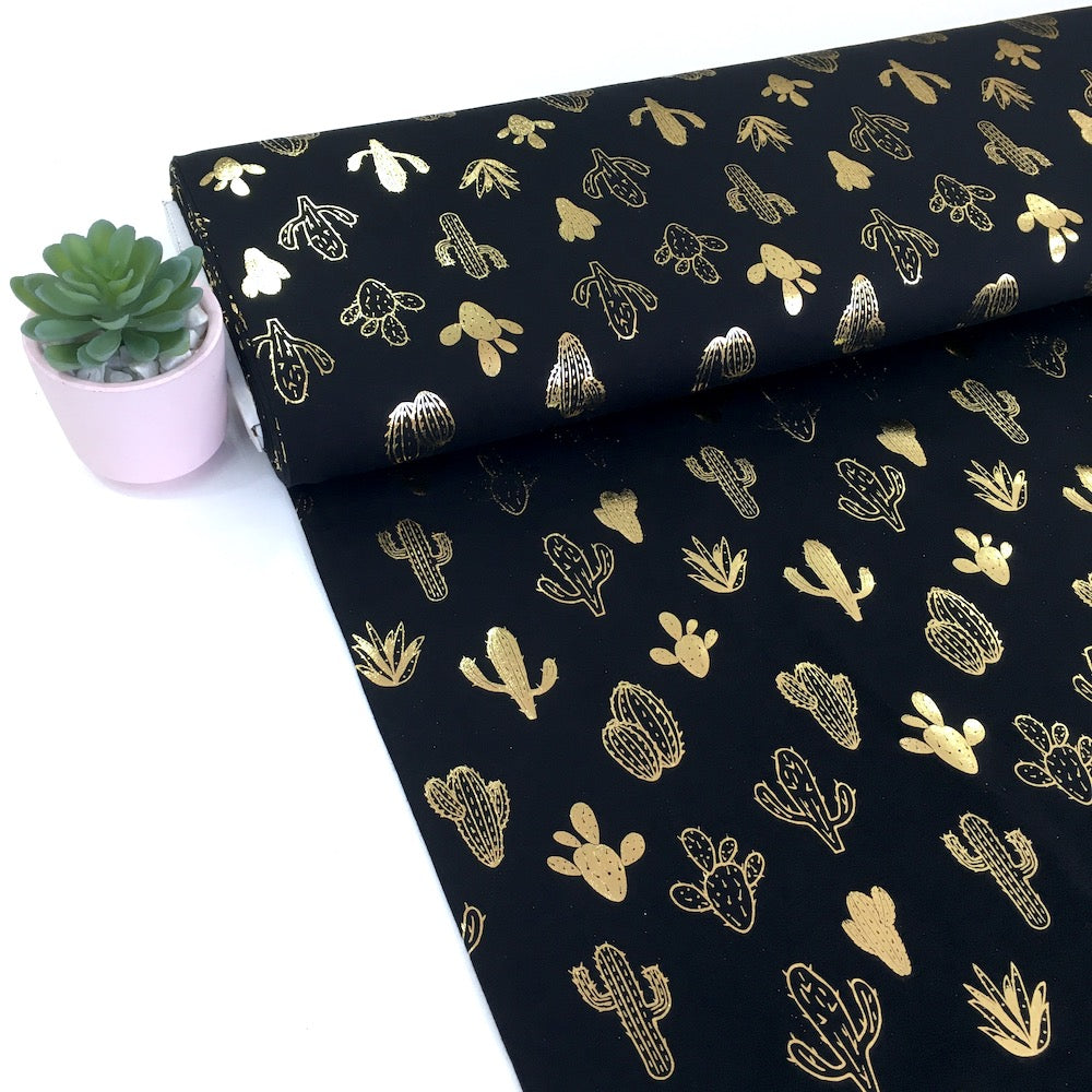 Golden Cactus Metallic Foil Jersey Black