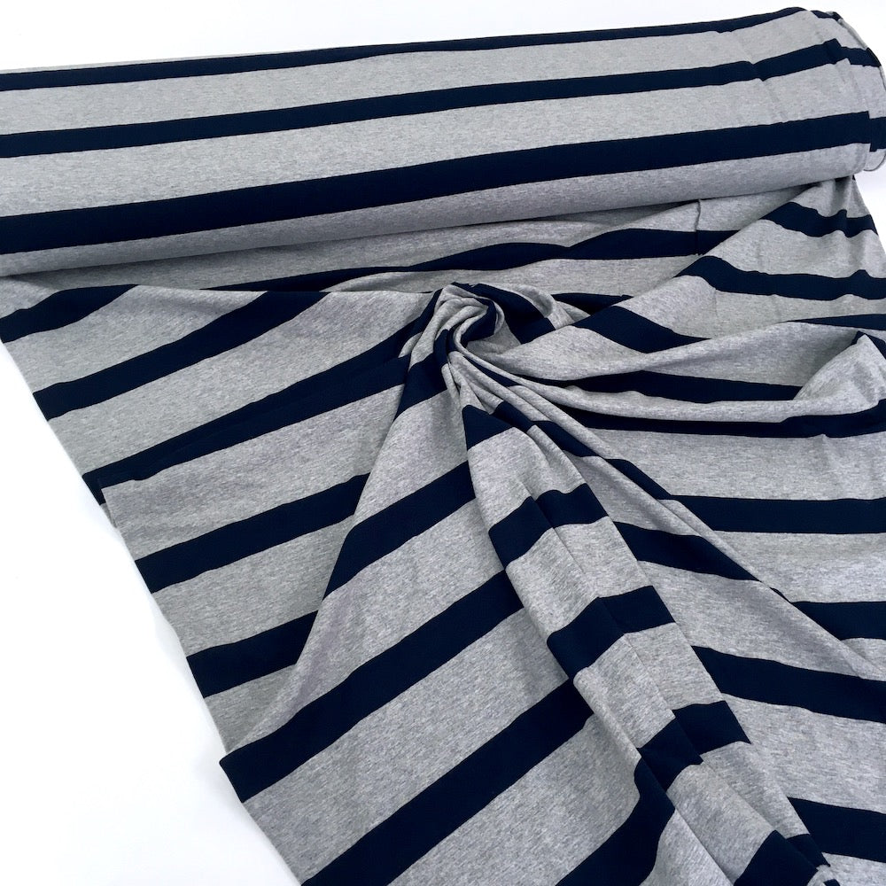 Navy Grey Marl Wide Stripe Yarn Dyed Jersey - Frumble Fabrics